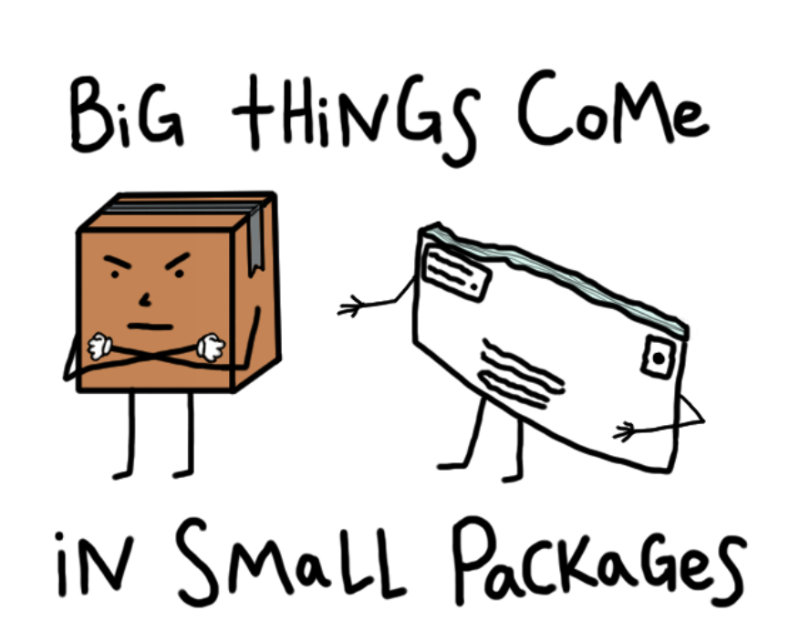 big things come in small packages essay Big things come in small packages was easy i wanted to honor height-challenged boys and also write about richard etheridge, a lifesaving station hero what goes around comes around grew out of thinking about how girls support or hurt each other in their relationships.